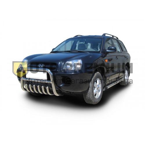 Защита переднего бампера Передок высокий d63,5 на Hyundai Santa-Fe Classic 2007-2012 г. (нержавейка)